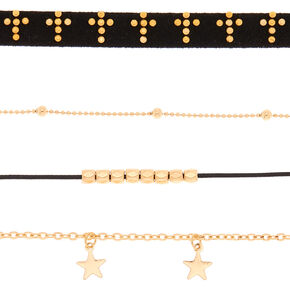 Gold Spiritual Choker Necklaces - Black, 4 Pack,