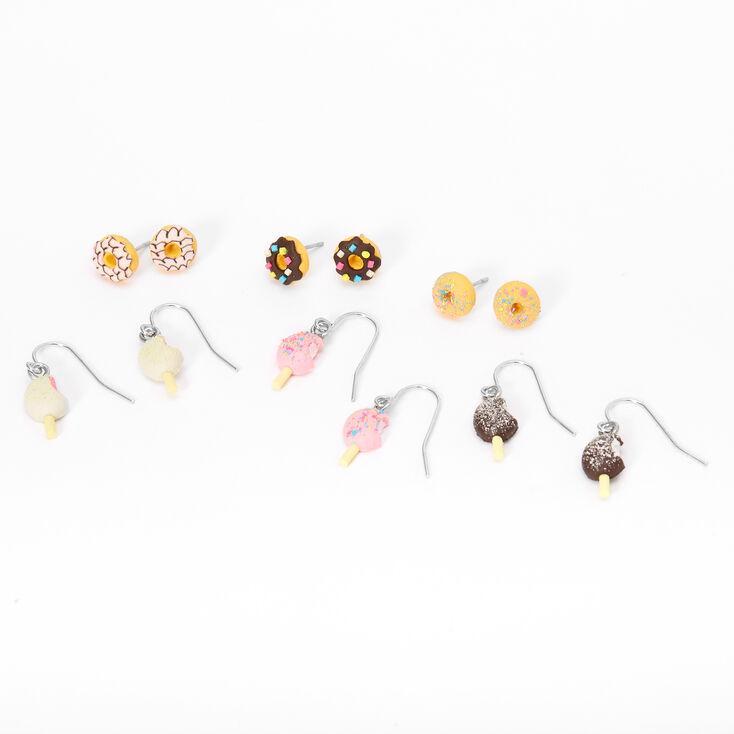 Boucles d'oreilles aux designs variés motif glace et donut couleur argentée - Lot de 6,