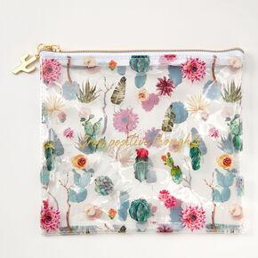Trousse florale et cactus «Grow positive thoughts» - Transparent,