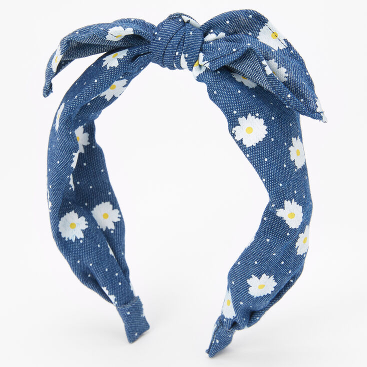 Blue Daisies Bow Headband