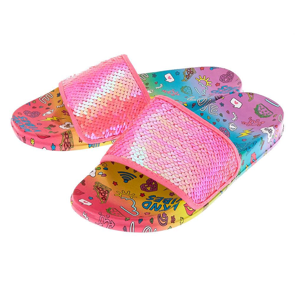 Sequin Doodle Slide Sandals - Pink