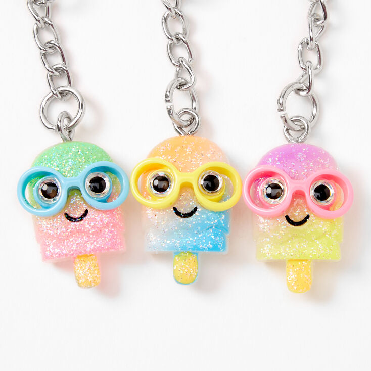 BFF Glitter Popsicle Keychains - 3 Pack,