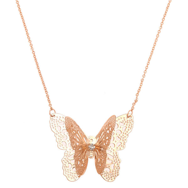 Claire's - rose filigree butterfly long pendant necklace - 1