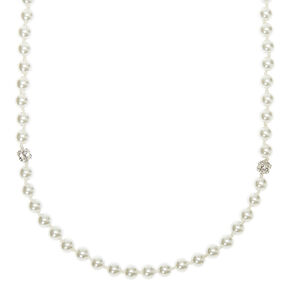 Silver Fireball & Pearl Long Necklace,
