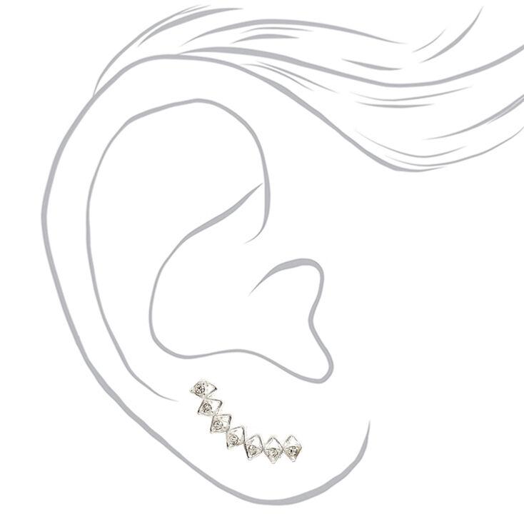 Bijoux d'oreille géométrique couleur argenté,