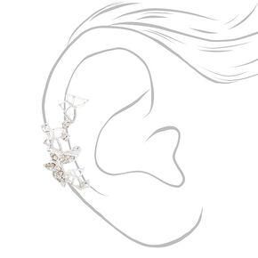 Manchette d'oreille papillon en strass couleur argentée,