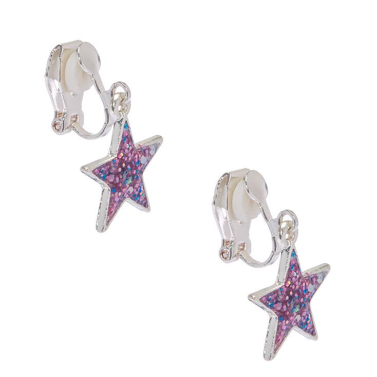 Pendants à clip étoiles confettis à paillettes violettes,
