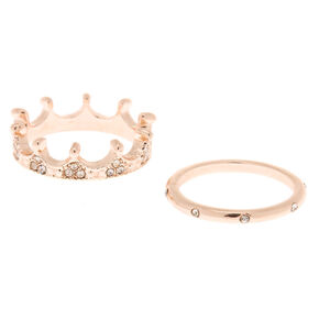 Rose Gold Crown Rings - 2 Pack,