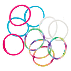 Rainbow Tie Dye Rolled Hair Bobbles - 10 Pack,