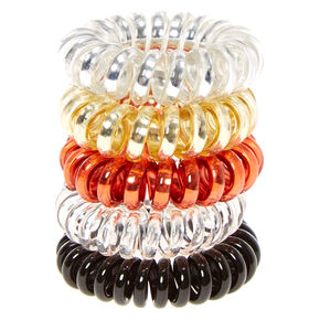 Metallic Neutral Spiral Hair Ties - 5 Pack,