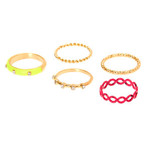 Gold Neon Embellished Rings - 5 Pack,