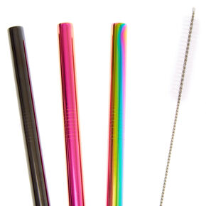 Extra Wide Mixed Metal Rainbow Anodized Stainless Steel Straws - 3 Pack,