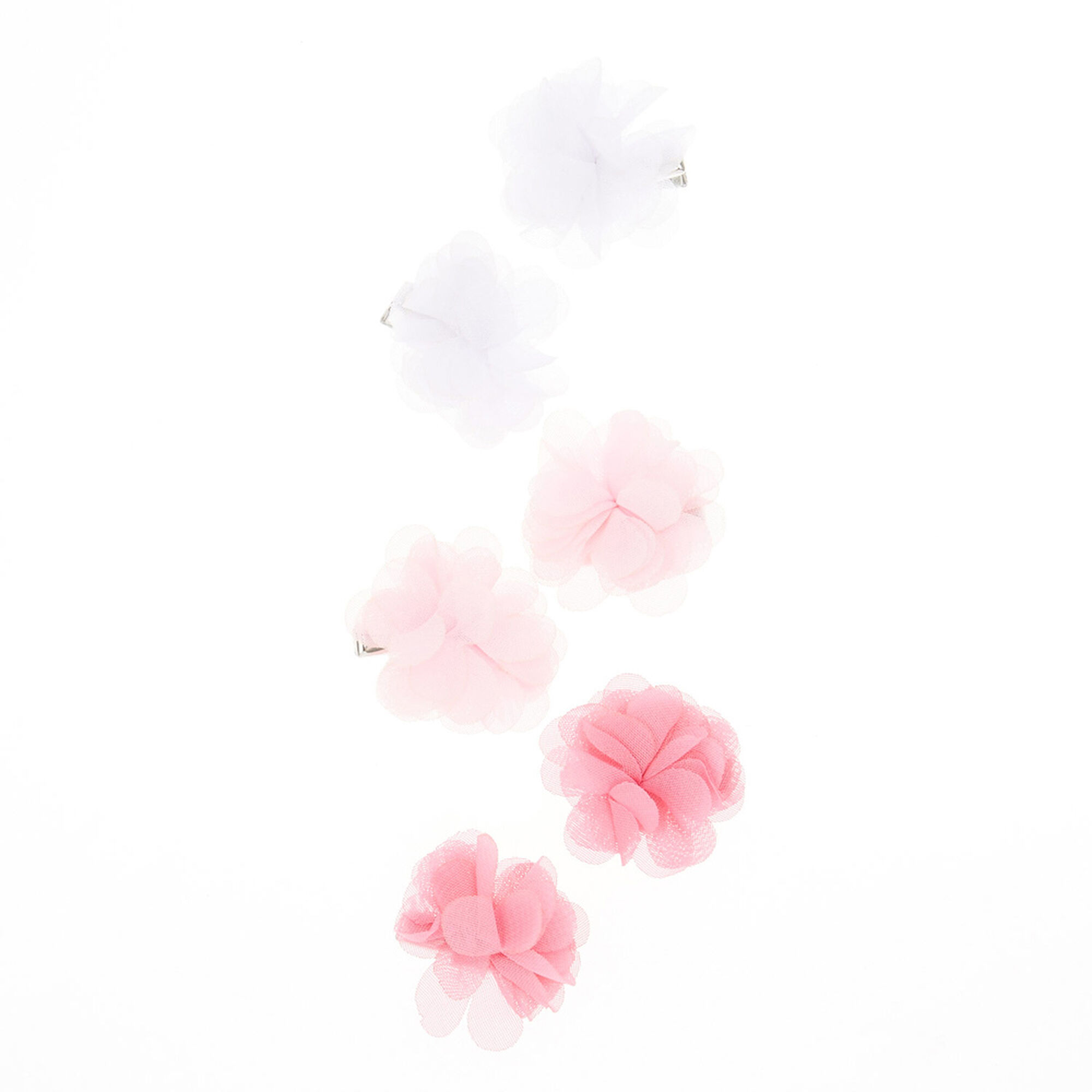 Kids Pink White Tulle Flower Hair Clips Claires