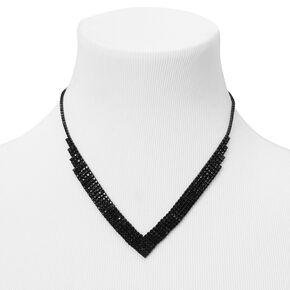 Jet Black Rhinestone Chevron Statement Necklace,
