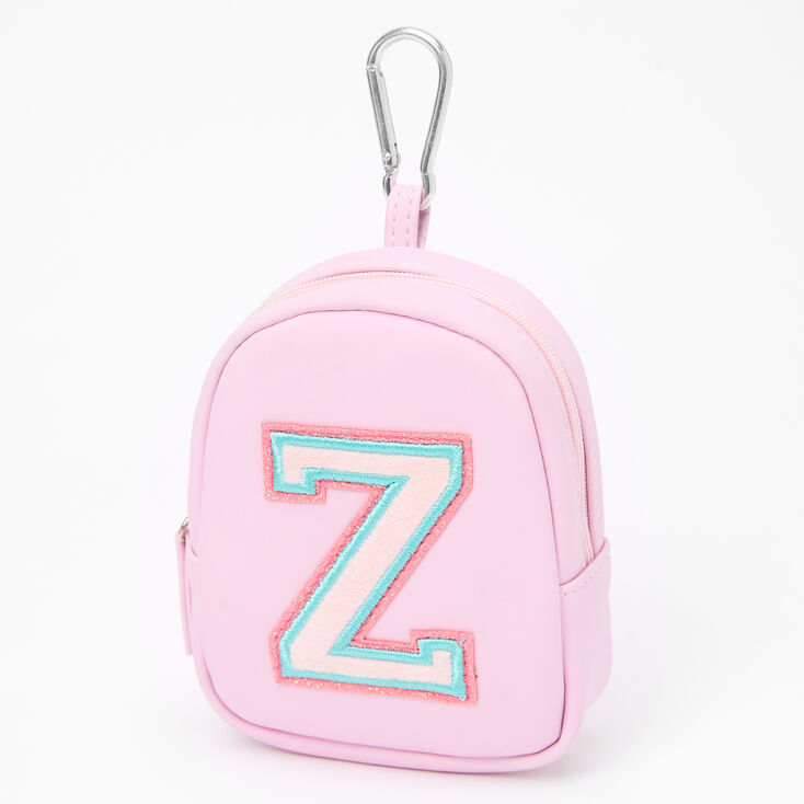 Pink Varsity Initial Mini Backpack Keychain - Z,