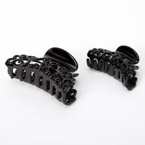 Filigree Hair Claws - Black, 2 Pack,