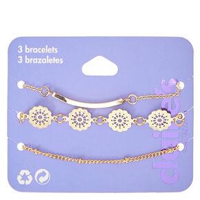 Gold Filigree Chain Bracelets - 3 Pack,