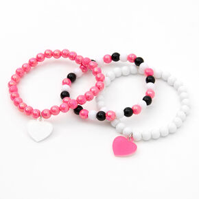 Claire's Club Heart Beaded Stretch Bracelets - 3 Pack,