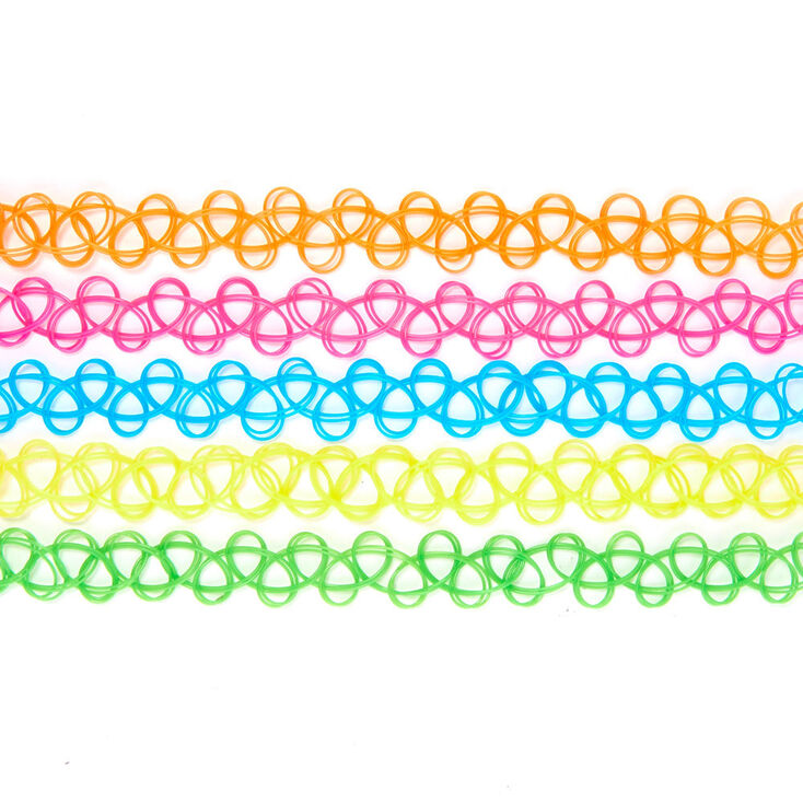 Neon Rainbow Tattoo Choker Necklaces - 5 Pack,