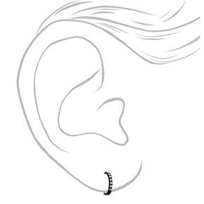 Sterling Silver 12MM Stone Half Hoop Earrings - Black,