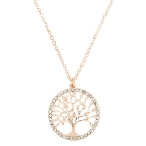 Rose Gold Tree Of Life Pendant Necklace,