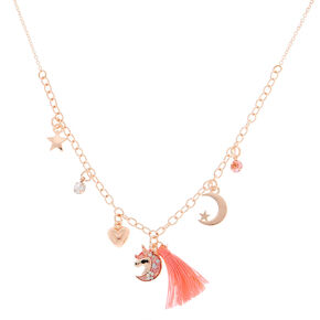 Rose Gold Celestial Tassel Statement Necklace - Pink,