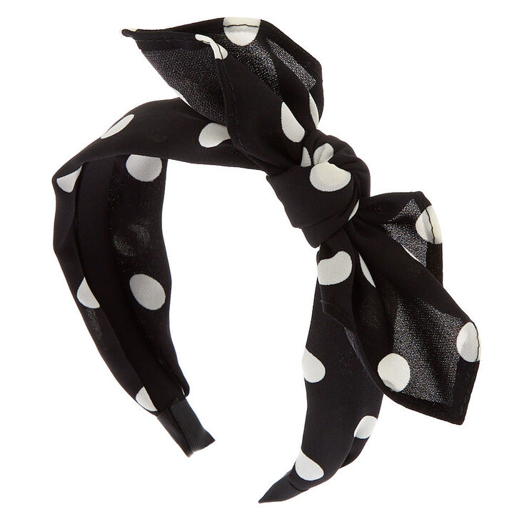 Polka Dot Bow Headband - Black,