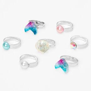 Claire's Club Mermaid Rings - 7 Pack,
