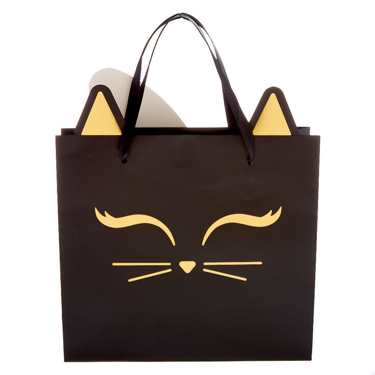Matte Kitty Cat Gift Bag - Black,