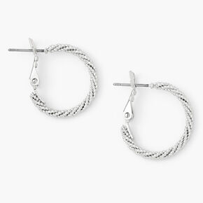 Silver 20MM Laser Cut Twisted Hoop Earrings,