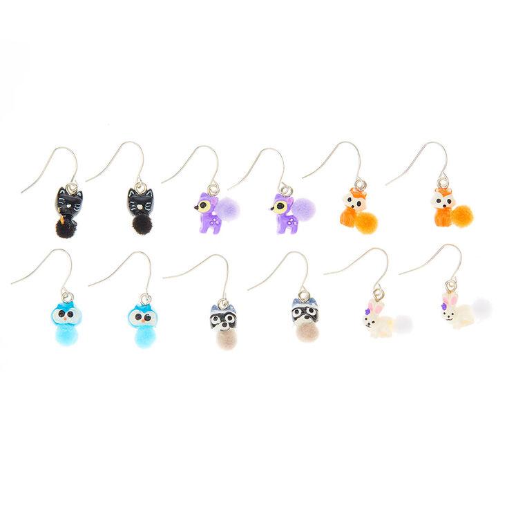 "Silver 0.5"" Woodland Creature Drop Earrings - 6 Pack,"
