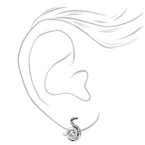 Silver Cubic Zirconia Snake Stud Earrings,