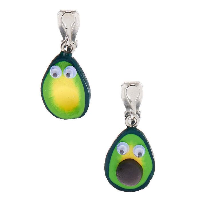 """Silver 1"""" Avocado Clip On Drop Earrings - Green,"""