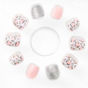 Pastel Pink Leopard Square Press On Faux Nail Set - 24 Pack,