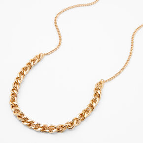 Gold Braided Chain Link Necklace,