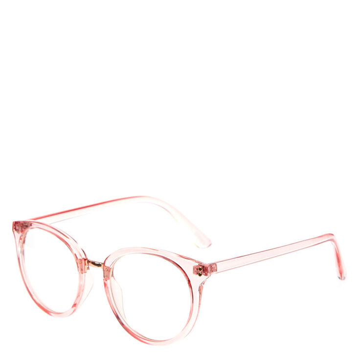 a353554308 Clear Pink Round Fake Glasses