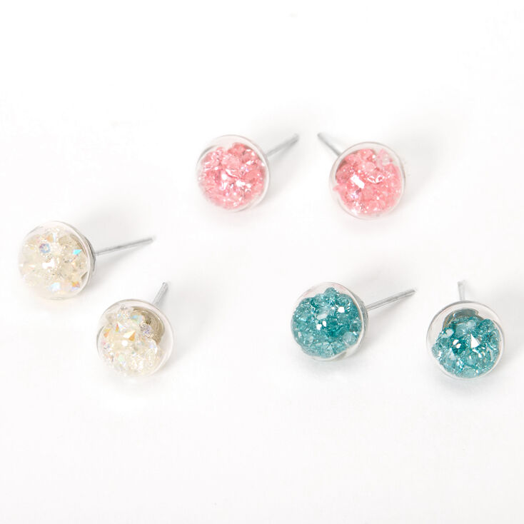 Silver Pastel Bead Shaker Stud Earrings - 3 Pack,