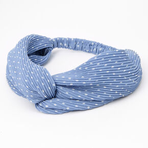 Polka Dot Pleated Twisted Headwrap - Blue,