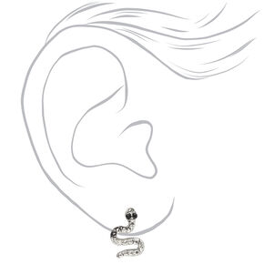 Silver Embellished Snake Stud Earrings,