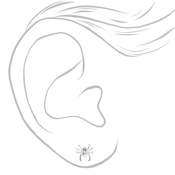 Sterling Silver Spider Stud Earrings,