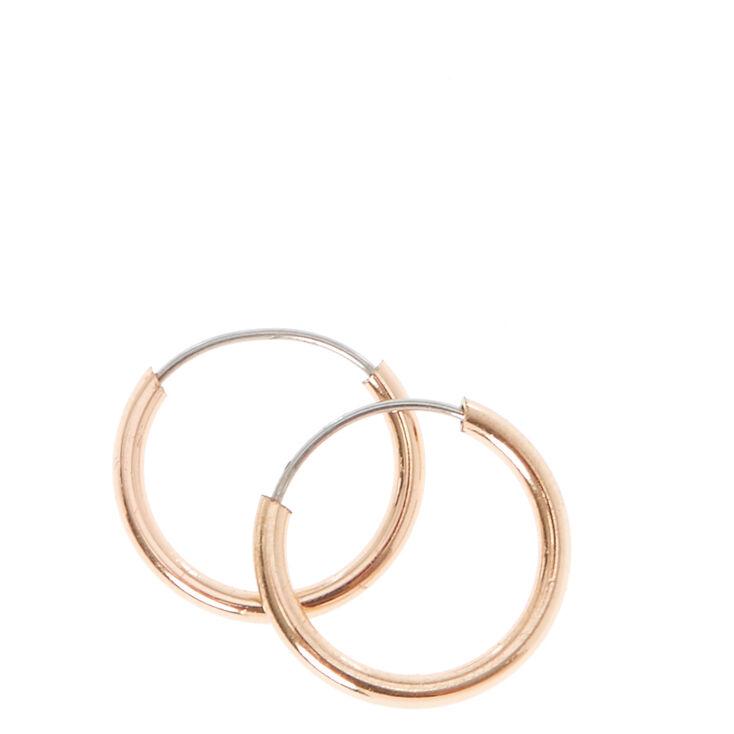 Rose Gold 10MM Hoop Earrings,