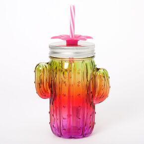 Flower Cactus Ombre Mason Jar Cup - Pink,