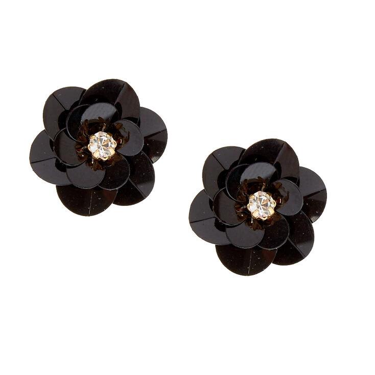 Black Sequin Fl Stud Earrings