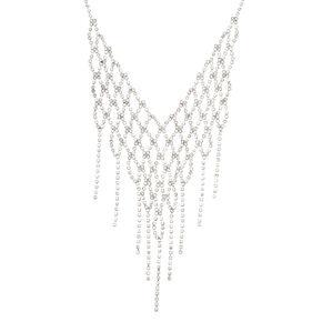 Collier volumineux couleur argenté avec frange en crochet et strass,