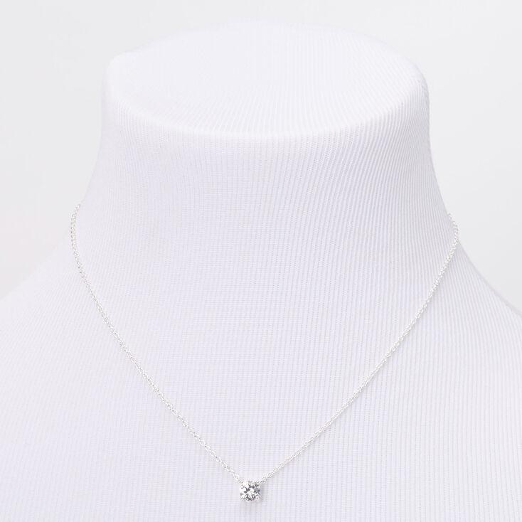Silver Cubic Zirconia 6MM Single Rhinestone Pendant Necklace,