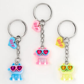 Cats Wearing Sunglasses Best Friends Keychains - 3 Pack,