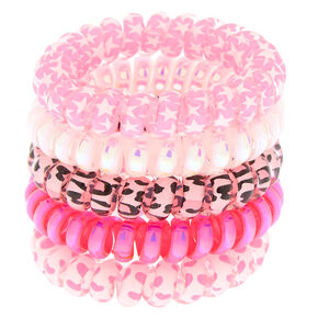 Claire's Club Pretty Pink Spiral Hair Ties - Pink, 5 Pack,