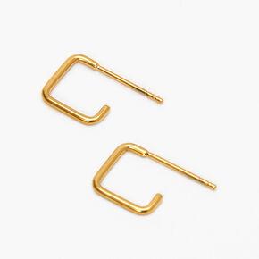 Créoles carrées ajourées 10mm en titane couleur dorée,