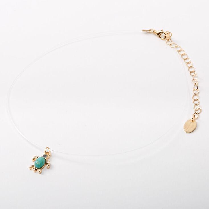 Turtle Stone Illusion Pendant Necklace - Turquoise,