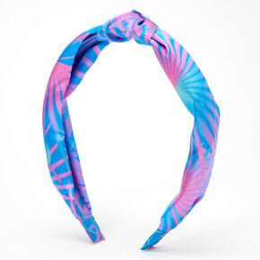 Palm Print Knotted Bow Headband - Blue,